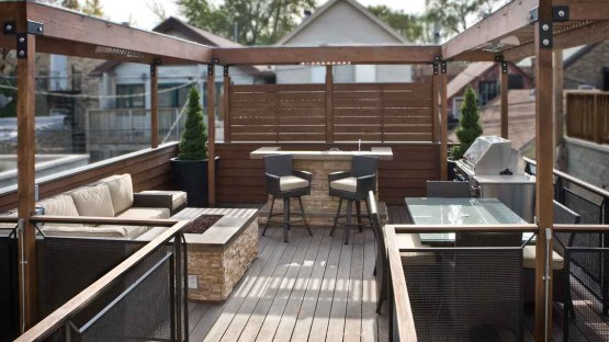 Rooftop Deck in Logan Square neighborhood of Chicago, Illinois