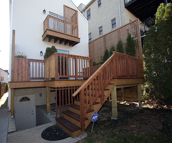 Deck and balcony in West Town - approaching the deck steps