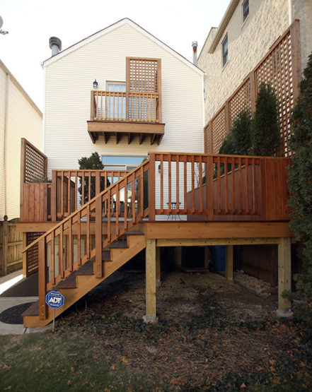 Photo of rear deck and balcony in West Town.