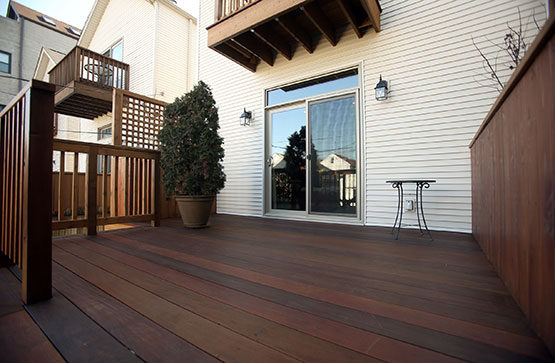 View of deck and sliding doors in West Town Chicago neighborhood.