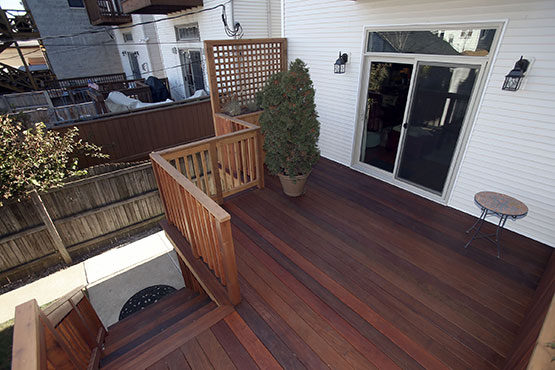 Birds-eye view of West Town deck.