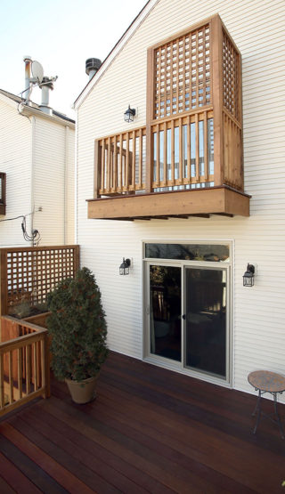 front view of balcony above deck in West Town Chicago.