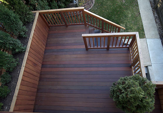 View of deck from balcony in West Town neighborhood, Chicago.